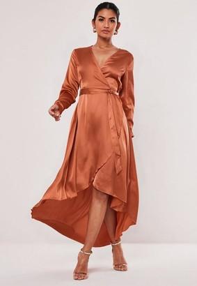 Missguided Rust Satin Wrap Ruffle Midi Dress