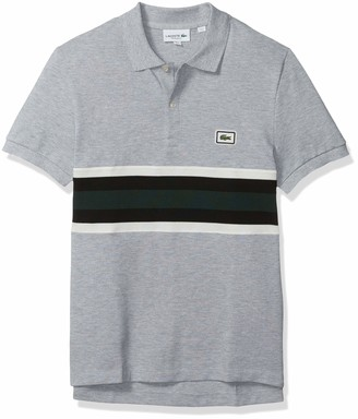 Lacoste Men's Short Sleeve Heavy Pique Bold Stripe Color-Block Polo REG