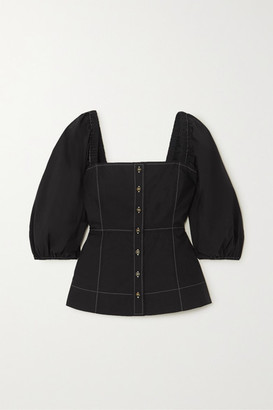 Ganni Cotton-poplin Blouse - Black