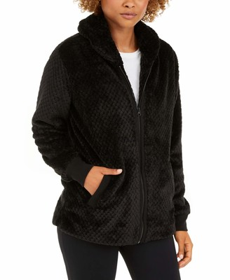 Ideology Womens Black Pocketed Zip Up Jacket Size: M