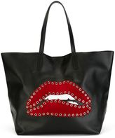 RED Valentino eyelet embellished lip tote