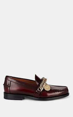 Givenchy Women's Chain-Embellished Burnished Leather Loafers - Wine
