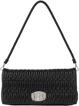 Miu Miu Matelasse Embellished Strap Shoulder Bag