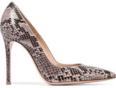 Gianvito Rossi Python Point-toe Pumps - Beige