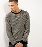 New Look Black Mono Design Crew Neck Jumper