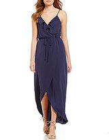 GB Ruffle Wrap V-Neck Maxi Dress
