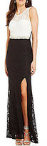 Jodi Kristopher Illusion Yoke Lace Color Block Long Dress