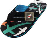 Norty Boys' Sandals TURQ - Black & Bright Blue Shark Flip-Flop - Boys