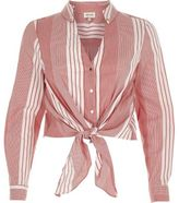 River Island Womens Red stripe tie front cropped shirt