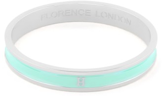 Florence London Initial H Bangle Silver Trim With Turquoise Enamel