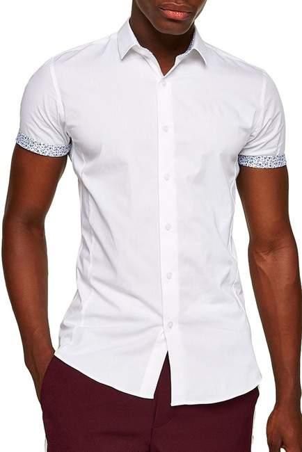 Topman Muscle Fit Floral Trim Shirt