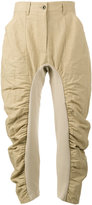 Stella McCartney Cropped Trousers with Ruched Legs - women - Cotton/Linen/Flax/Polyamide - 38