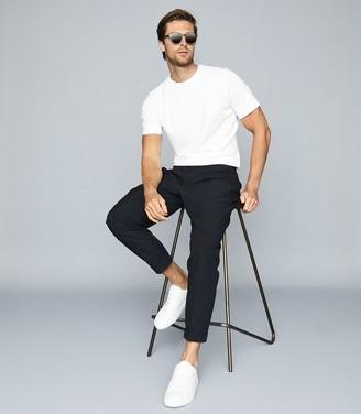 Reiss Iona - Self-start Rib-knit T-shirt in White