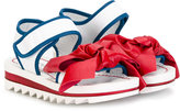 Simonetta hook and loop sandals - kids - Goat Skin/Leather/rubber - 28
