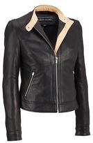 Black Rivet Womens Leather Center Zip Jacket