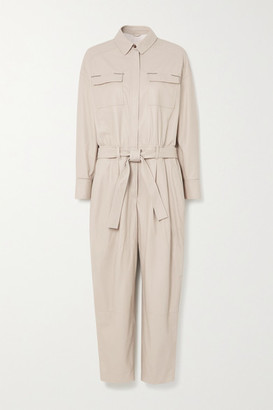 Brunello Cucinelli Bead-embellished Belted Leather Jumpsuit - White