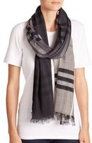 Burberry Giant Check Ombre Wool & Silk Scarf