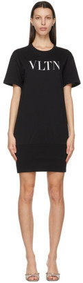 Valentino Black VLTN Ribbed T-Shirt Dress