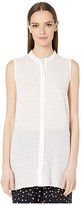 Eileen Fisher Organic Cotton Voile Box Mandarin Collar Shirt (White) Women's Clothing