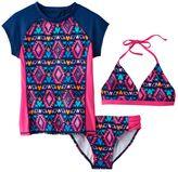 Girls 7-16 SO® 3-pc. Geometric Bikini & Rashguard Swimsuit Set