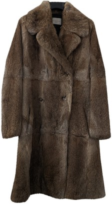 Sandro Brown Rabbit Coat for Women