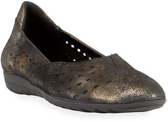 Sesto Meucci Bride Metallic Suede Comfort Ballet Flats