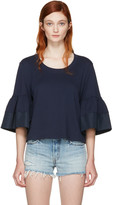 See by Chloe Navy Bell Sleeve T-Shirt