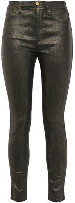 Frame Le High Skinny Cropped Metallic High-rise Skinny Jeans