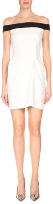 Roland Mouret Bicolor Off-the-Shoulder Mini Dress, White/Black