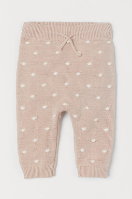 H&M Textured-knit Pants - Beige