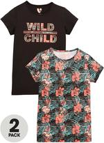 Very Girls Floral Printed T-Shirts (2 Pack)