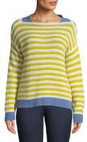 Piazza Sempione Striped Open-Weave Cashmere Pullover