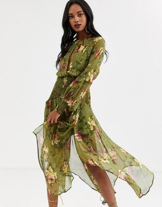 Asos Design DESIGN drop waist shirred floral midaxi dress-Multi