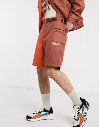 Fila Tarvos block color shorts in burnt orange
