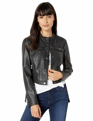 BCBG Max Azria Womens Faux Leather Metallic Cropped Jacket
