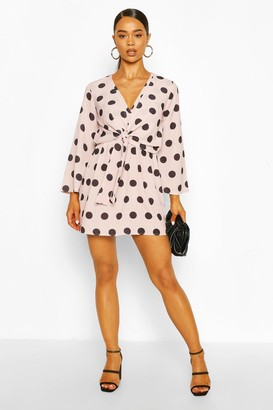 boohoo Polka Dot Knot Front Dress