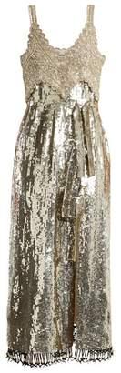 Altuzarra Elan Sequin And Bead Embellished Silk Dress - Womens - Silver