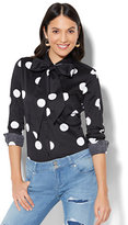 New York & Co. 7th Avenue - Madison Stretch Shirt - Black & White Polka Dot