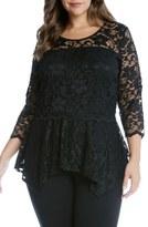 Karen Kane Lace Peplum Top (Plus Size)