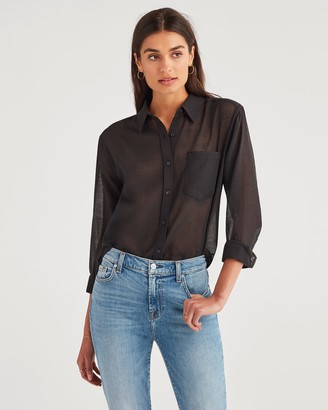 7 For All Mankind Knot Front Button Up in Jet Black