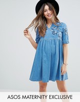 Asos Denim Smock Dress in Mid Wash Blue With Embroidery