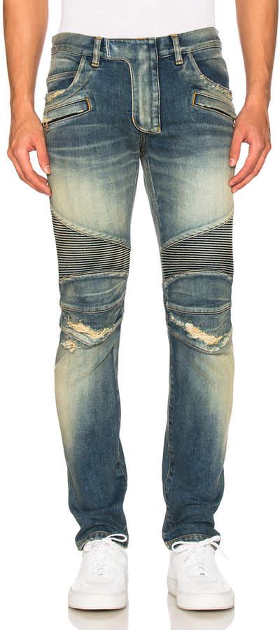 Balmain Biker Stretch Jeans in Blue | FWRD