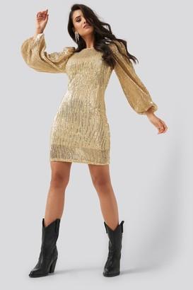 NA-KD Puff Sleeve Sequin Mini Dress Black