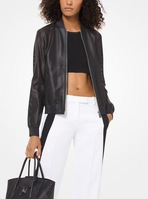 Michael Kors Perforated Plonge Leather Bomber Jacket