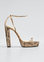 Alexandre Birman Lenny Python Ankle-Strap Platform Sandals
