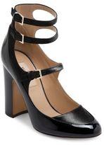 Valentino Garavani Multi-Strap Patent Leather & Satin Block Heel Pumps