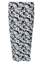 Select Fashion Fashion Womens Grey Mono Tropical Midi Skirt - size 18