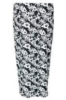 Select Fashion Fashion Womens Grey Mono Tropical Midi Skirt - size 6