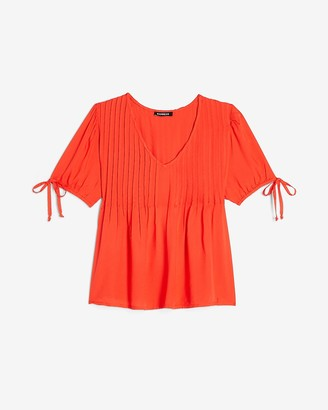 Express Pleated Tie Sleeve V-Neck Top