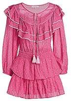 LoveShackFancy Women's Luca Floral Ruffle Mini Peasant Dress